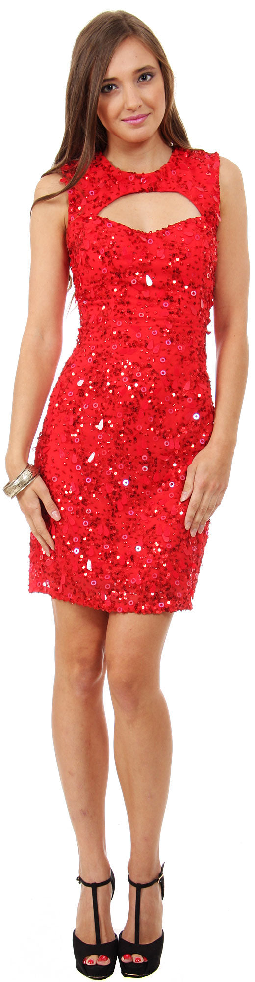 Main image of Keyhole Neck & Back Short Sequined Party Prom Dress