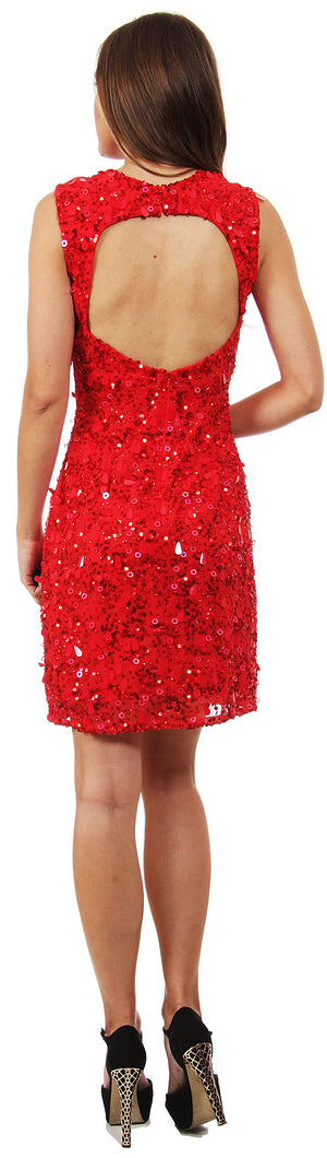 Back image of Keyhole Neck & Back Short Sequined Party Prom Dress