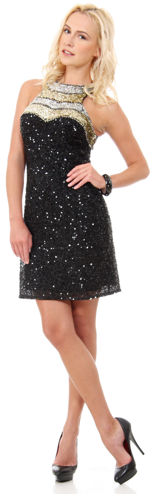 Main image of Halter Neck Exotic Short Sequined Formal Party Dress