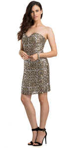 Main image of Strapless Fully Beaded Short Prom Homecoming Dress