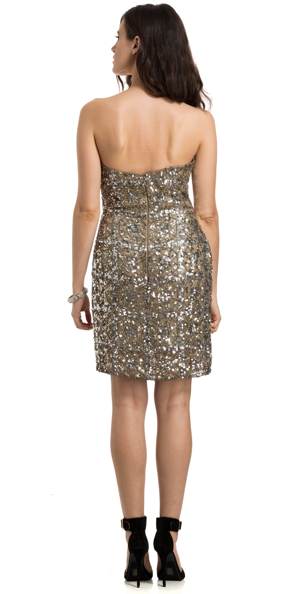 Back image of Strapless Fully Beaded Short Prom Homecoming Dress