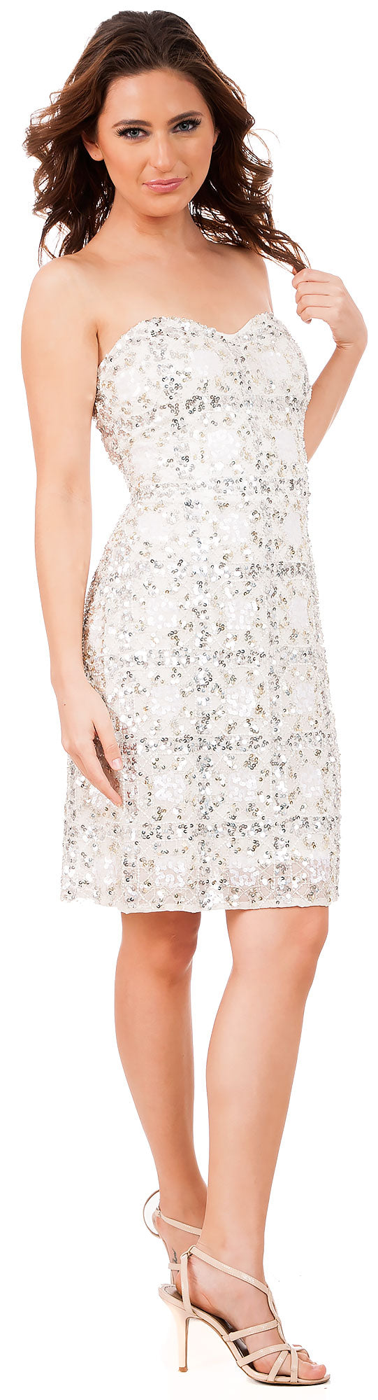 Image of Strapless Fully Beaded Short Prom Homecoming Dress in Ivory/Silver