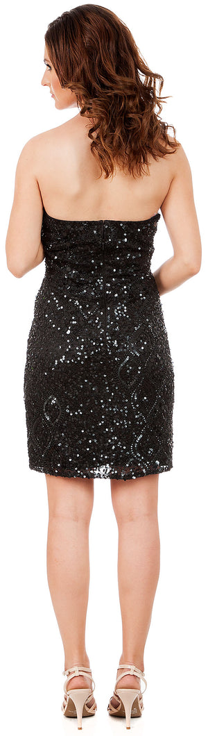 Back image of Strapless Beaded Short Formal Prom Homecoming Dress