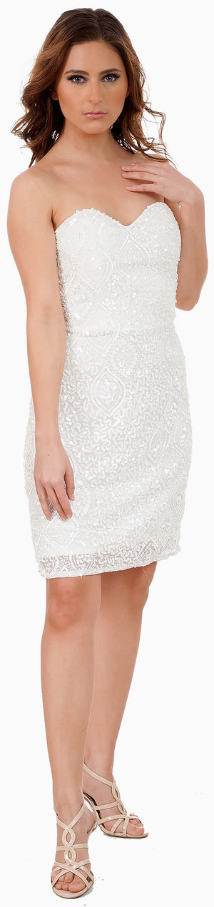 Image of Strapless Beaded Short Formal Prom Homecoming Dress in Ivory