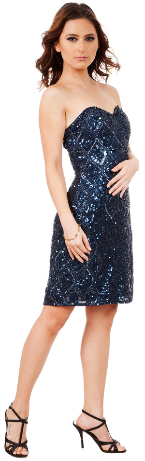 Image of Strapless Beaded Short Formal Prom Homecoming Dress in Navy