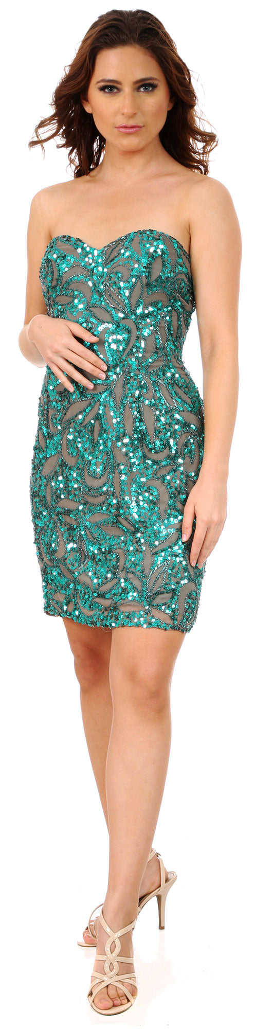 Image of Strapless Leaves Pattern Short Beaded Homecoming Party Dress in an alternative picture