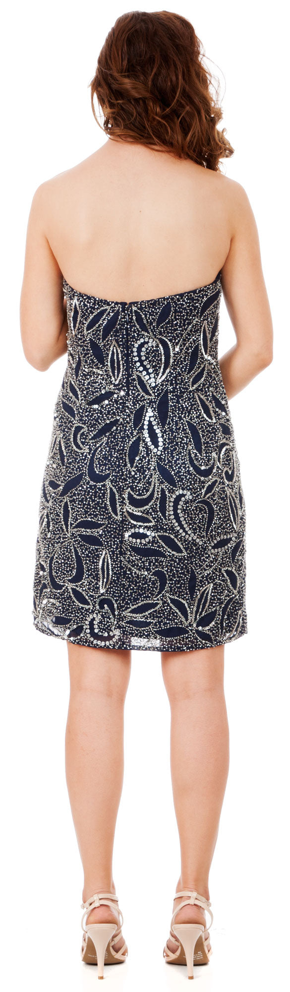 Back image of Strapless Leaves Pattern Short Beaded Homecoming Party Dress