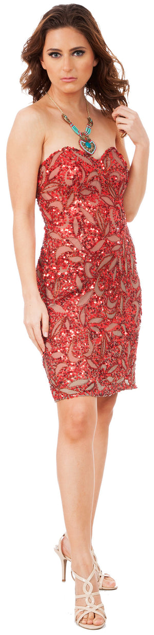 Image of Strapless Leaves Pattern Short Beaded Homecoming Party Dress in Red/Brown