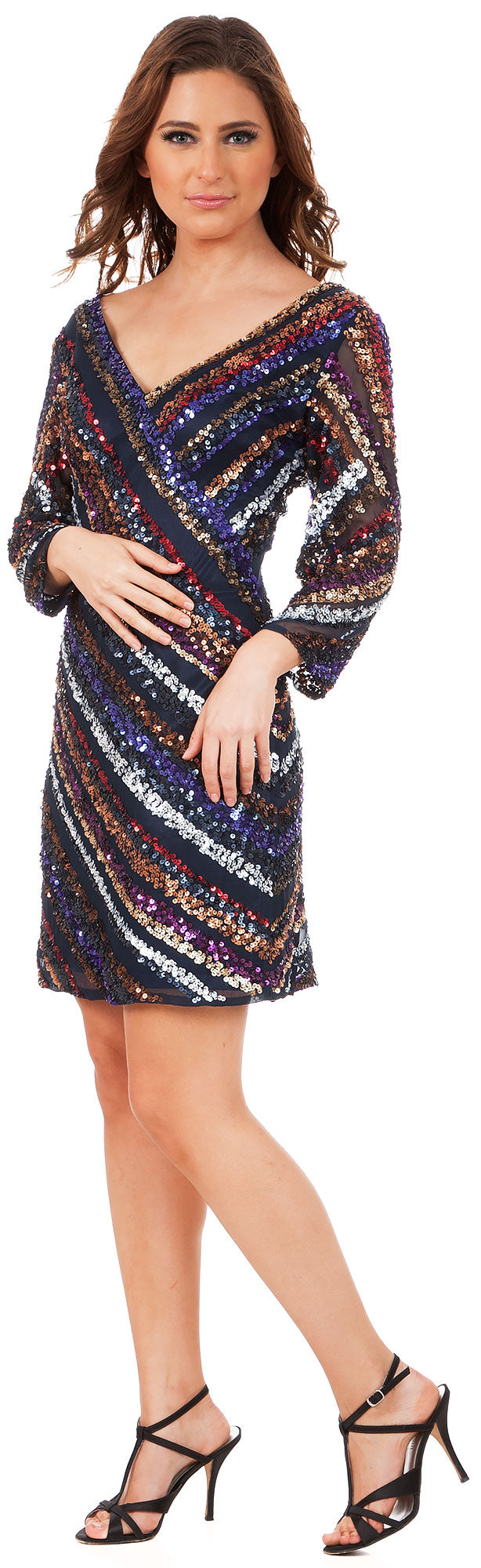 Main image of V-neck Diagonal Sequins Pattern Party Prom Dress