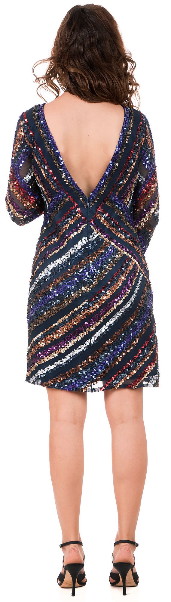 Back image of V-neck Diagonal Sequins Pattern Party Prom Dress