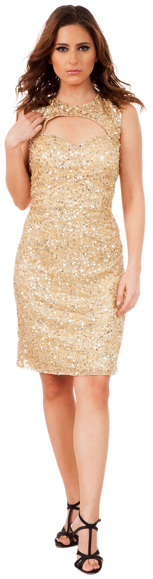 Main image of Keyhole Front & Back Short Sequined Formal Party Dress