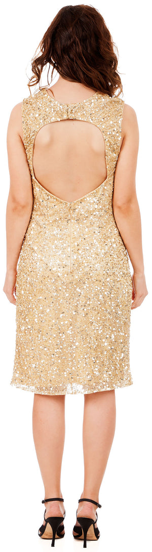 Back image of Keyhole Front & Back Short Sequined Formal Party Dress