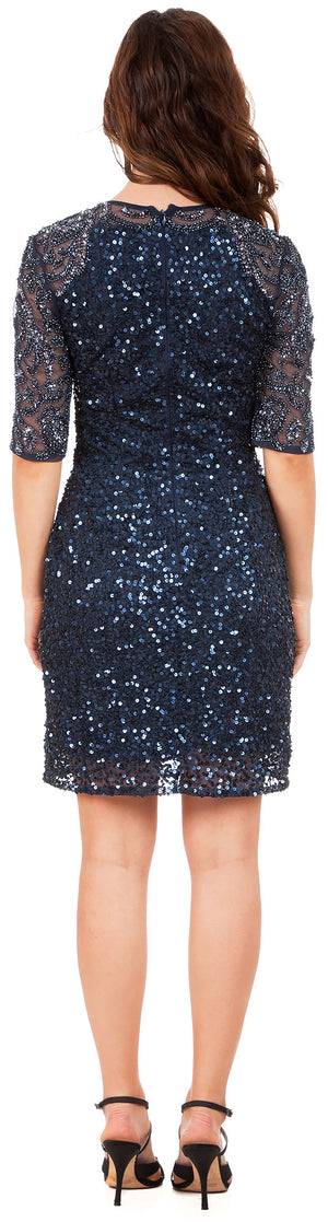 Back image of Half Sleeves Elegant Sequins Beaded Short Formal Prom Dress