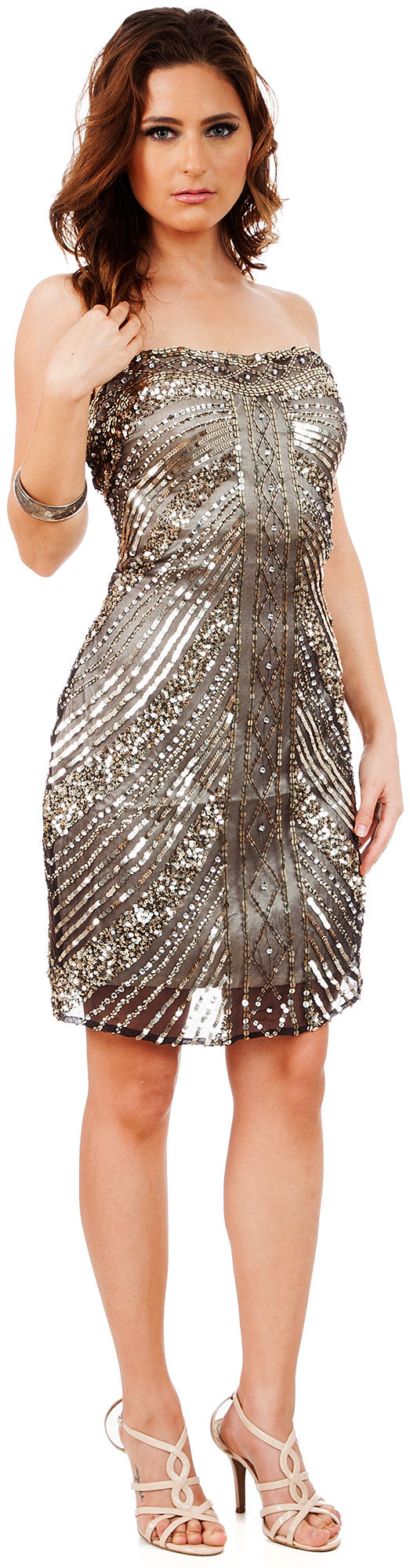 Main image of Strapless Short Sequined Homecoming Party Prom Dress