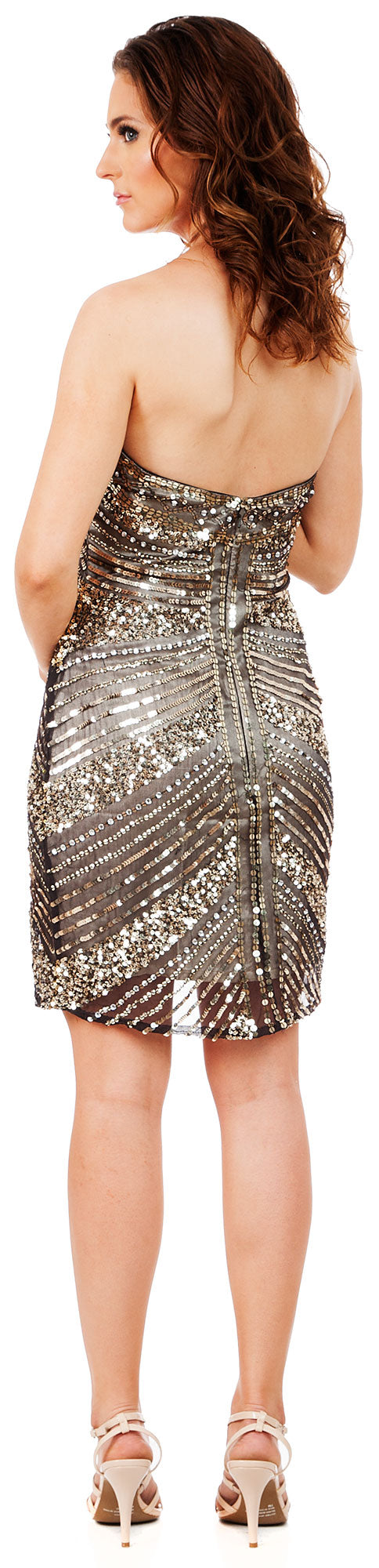 Back image of Strapless Short Sequined Homecoming Party Prom Dress