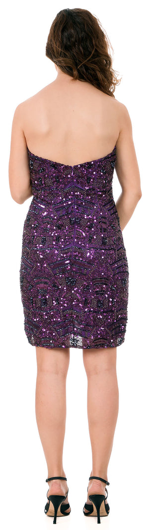 Back image of Strapless Sequins Embellished Short Prom Homecoming Dress
