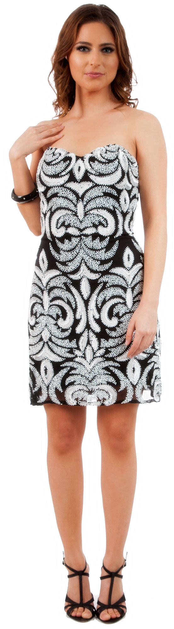 Main image of Short Fitted Beaded Short Shift Party Dress