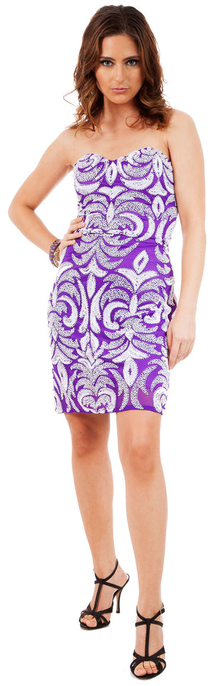 Image of Short Fitted Beaded Short Shift Party Dress in Purple/White