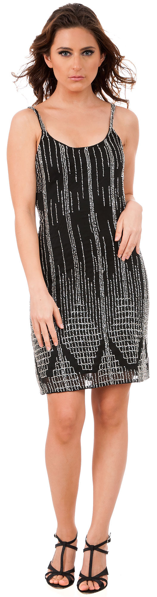 Image of Short Fitted Beaded Short Shift Homecoming Party Dress in Black/Silver