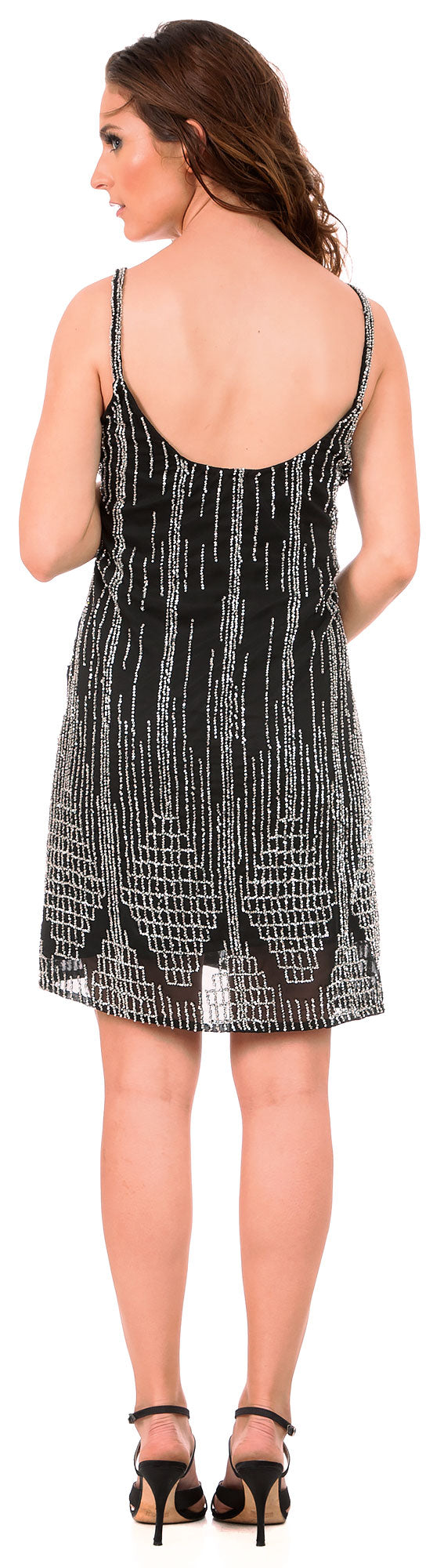 Image of Short Fitted Beaded Short Shift Homecoming Party Dress back in Black/Silver