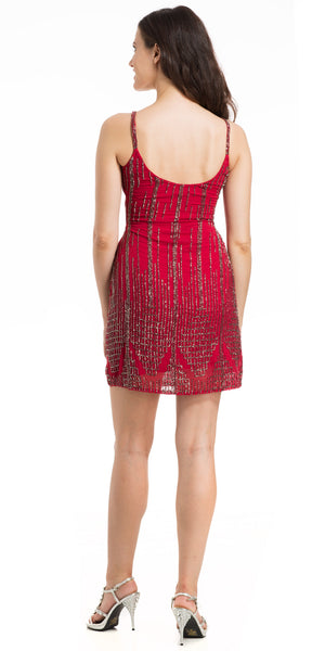 Back image of Short Fitted Beaded Short Shift Homecoming Party Dress