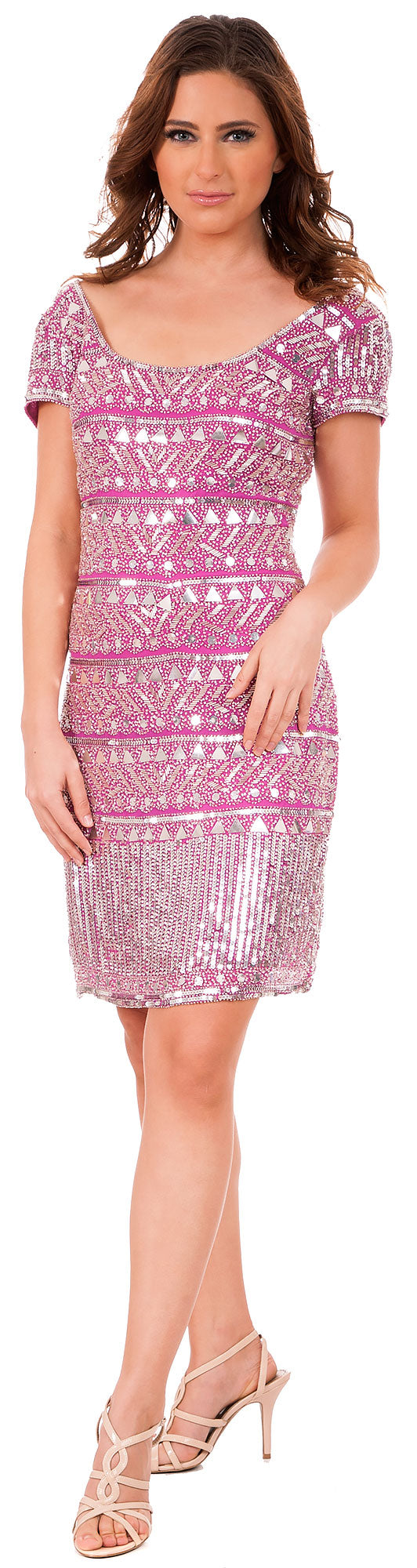 Image of Fully Sequined Short Sleeves Prom Homecoming Dress in Fuchsia/Silver