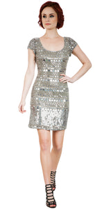 Main image of Fully Sequined Short Sleeves Prom Homecoming Dress