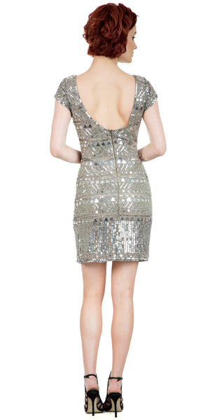 Back image of Fully Sequined Short Sleeves Prom Homecoming Dress