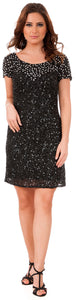 Main image of Short Sequins Homecoming Prom Dress With Keyhole Back