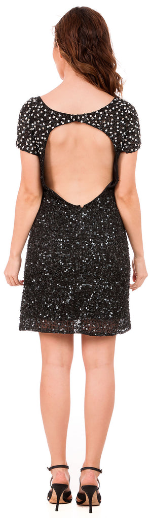 Back image of Short Sequins Homecoming Prom Dress With Keyhole Back