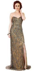 Main image of Strapless Floral Beads & Sequins Long Formal Prom Dress