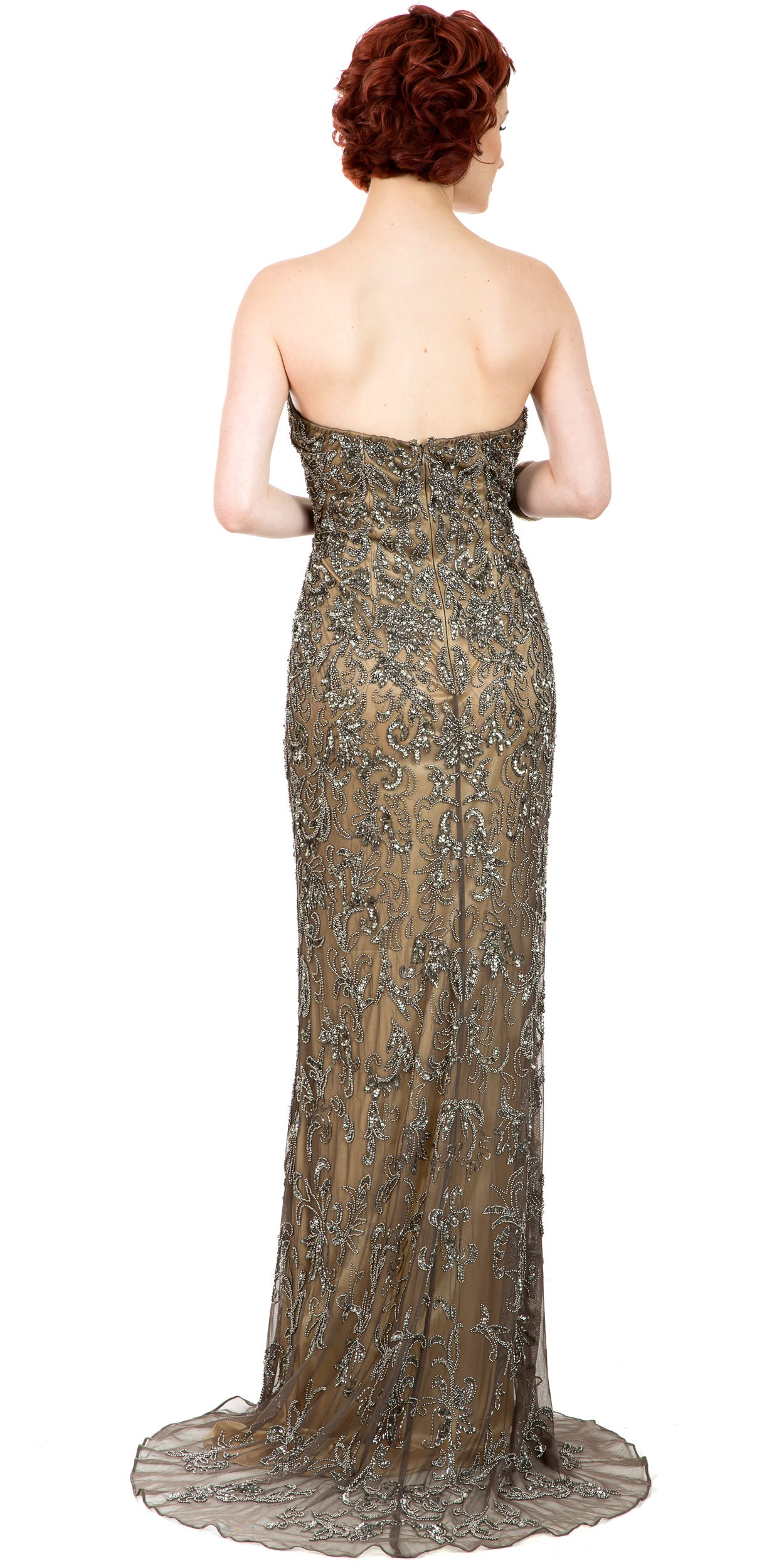 Image of Strapless Floral Beads & Sequins Long Formal Prom Dress back in Lead/Gold