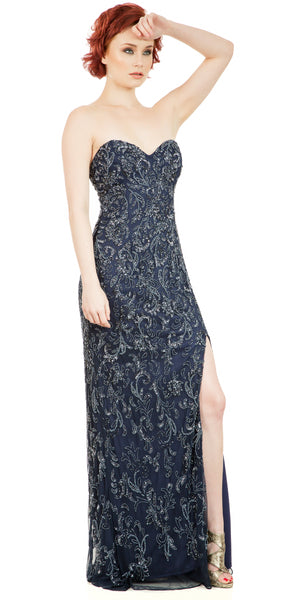 Image of Strapless Floral Beads & Sequins Long Formal Prom Dress in Navy