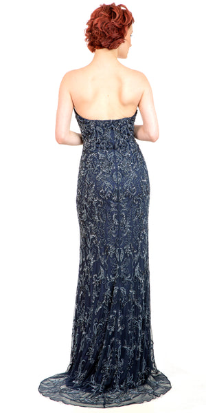 Back image of Strapless Floral Beads & Sequins Long Formal Prom Dress