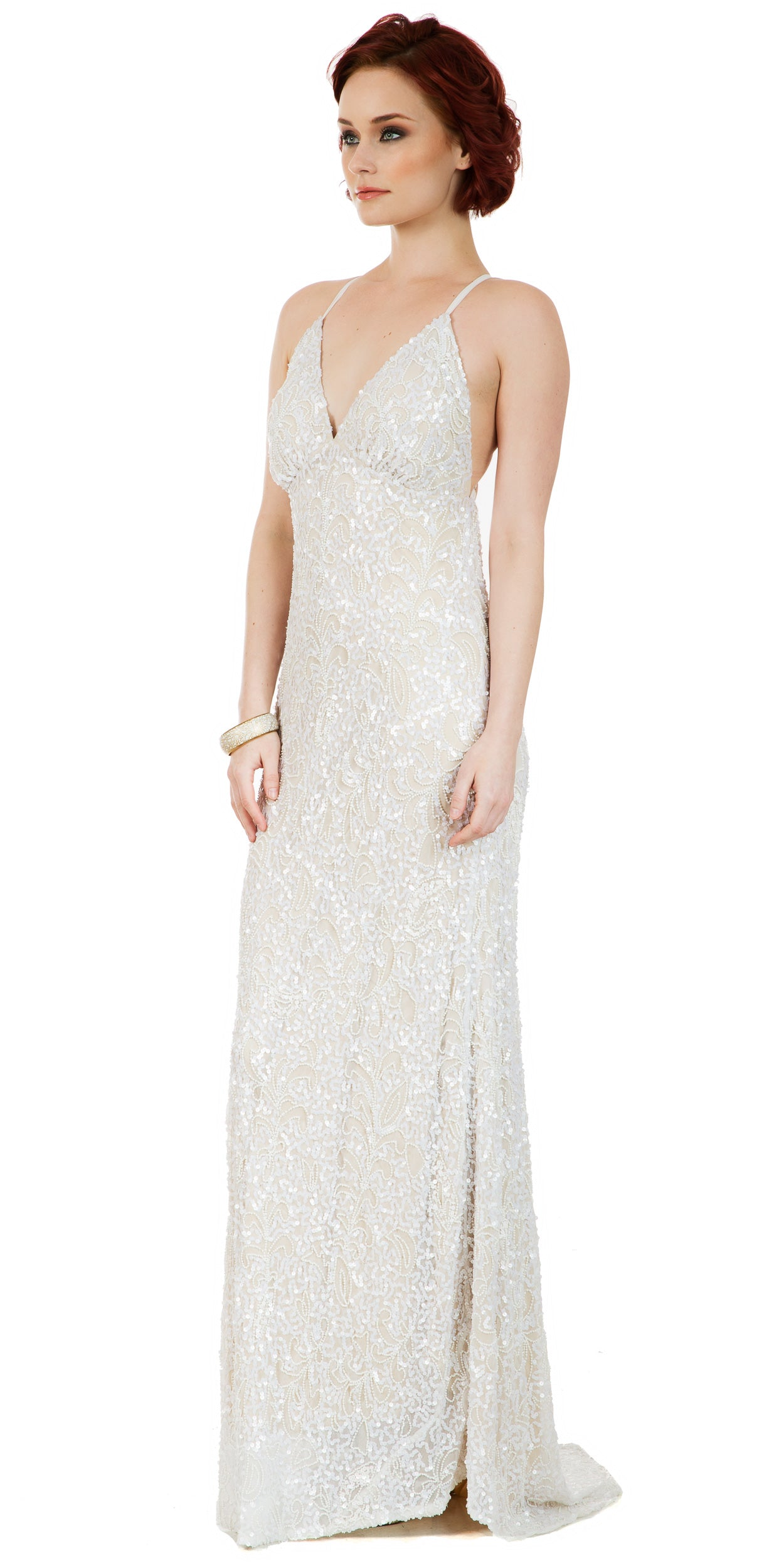 Image of Spaghetti Straps V-neck Sequins Long Formal Prom Dress in Ivory/Gold