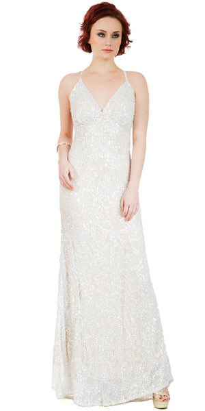 Image of Spaghetti Straps V-neck Sequins Long Formal Prom Dress in an alternative image