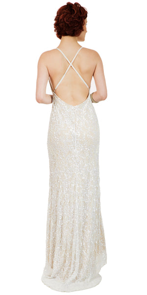 Image of Spaghetti Straps V-neck Sequins Long Formal Prom Dress back in Ivory/Gold