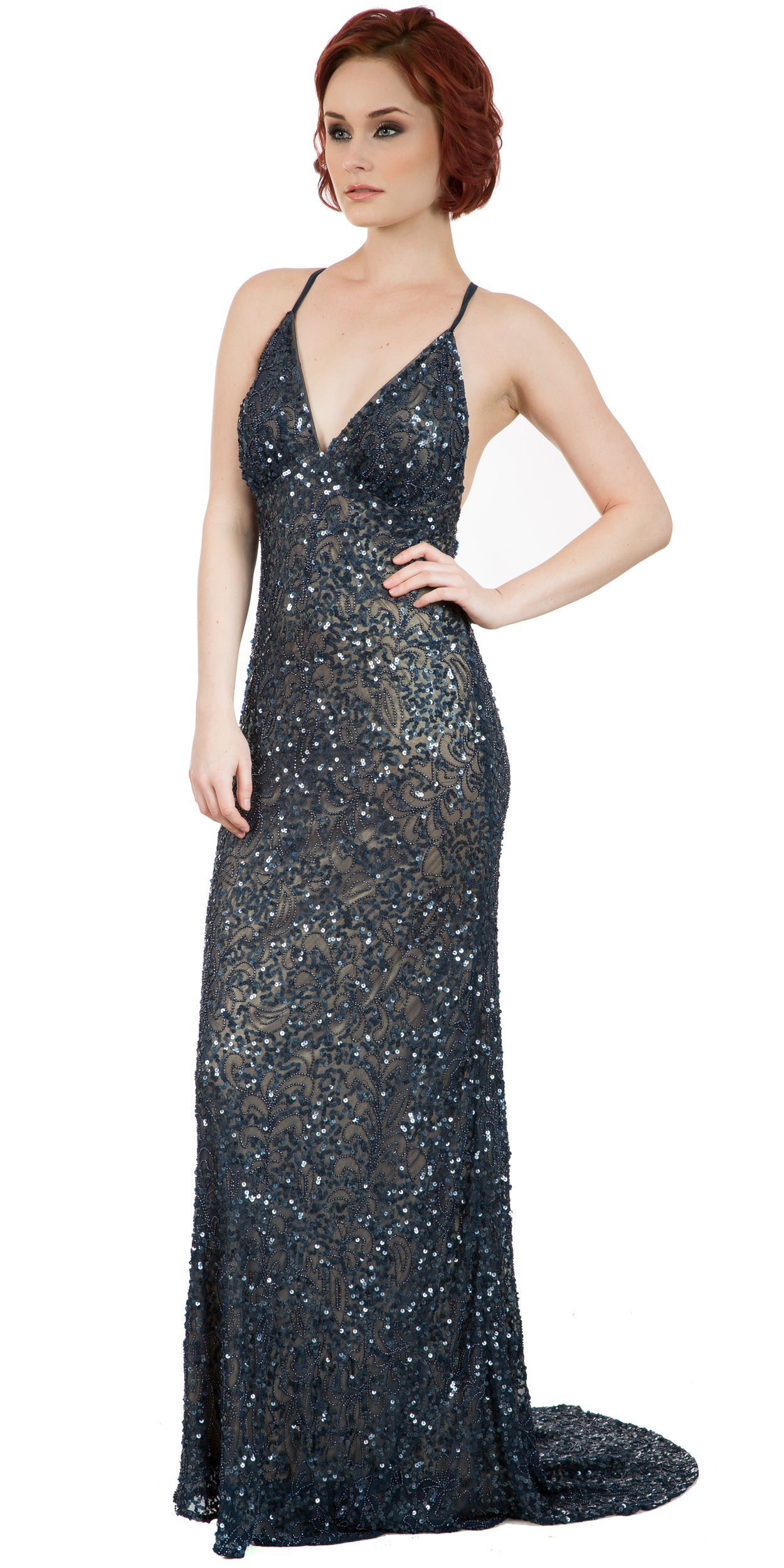 Main image of Spaghetti Straps V-neck Sequins Long Formal Prom Dress