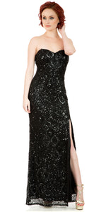 Image of Strapless Sweetheart Sequins Long Formal Prom Dress in Black