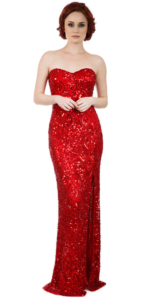 Image of Strapless Sweetheart Sequins Long Formal Prom Dress in an alternative image