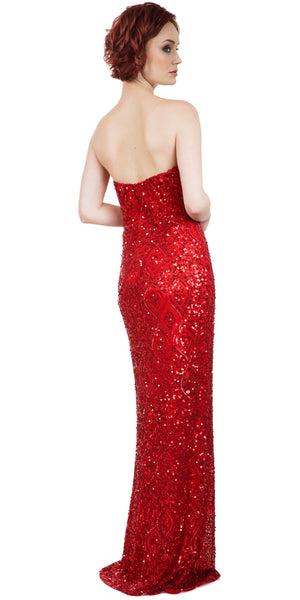 Image of Strapless Sweetheart Sequins Long Formal Prom Dress back in Red