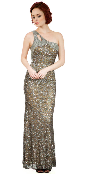 Image of One Shoulder Sparkling Beads & Sequins Long Prom Dress in an alternative image