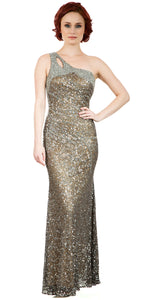 Main image of One Shoulder Sparkling Beads & Sequins Long Prom Dress