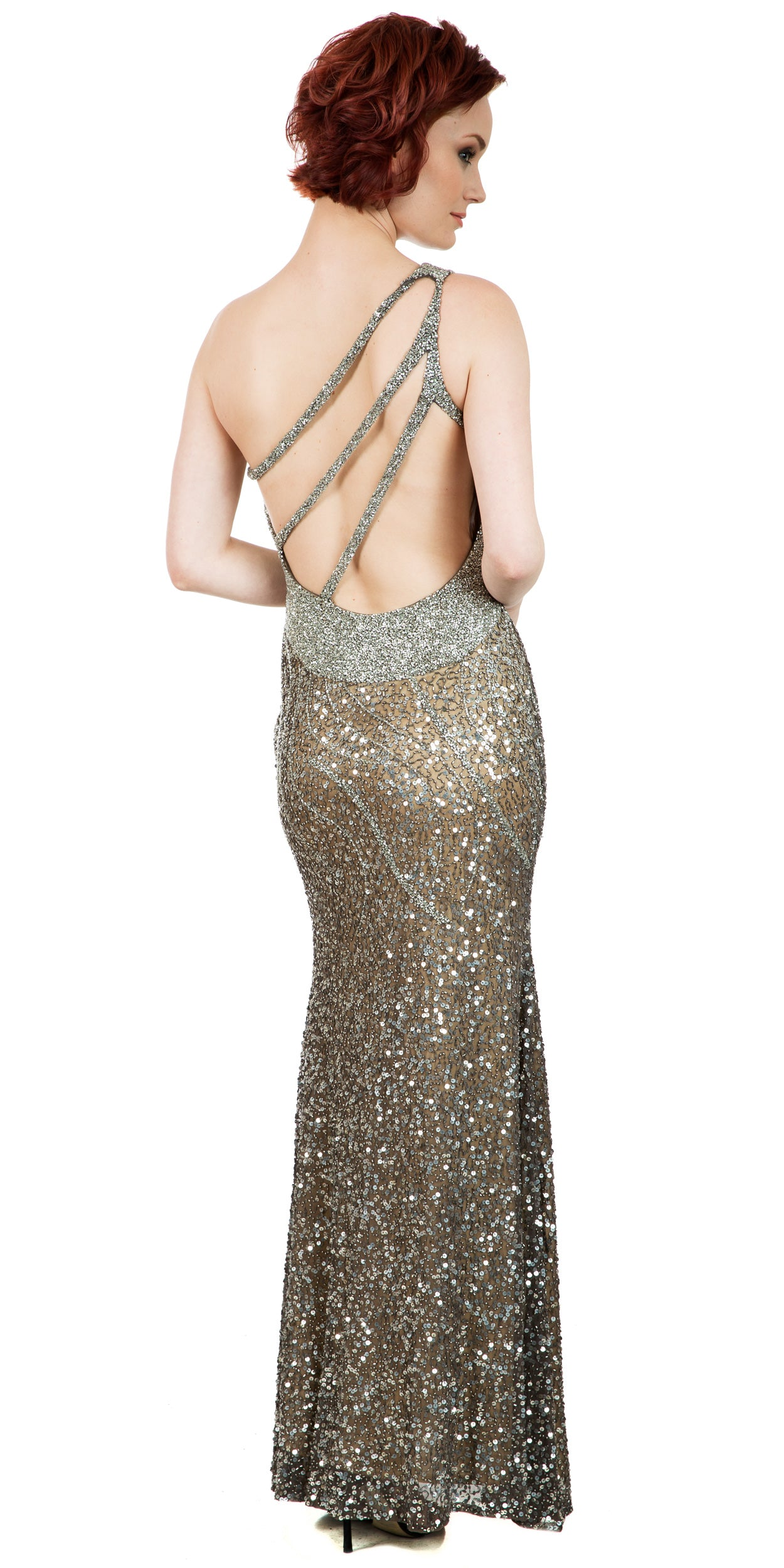 Back image of One Shoulder Sparkling Beads & Sequins Long Prom Dress