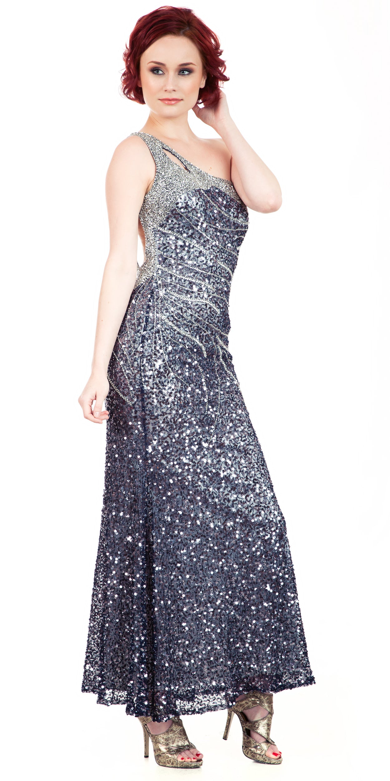 Image of One Shoulder Sparkling Beads & Sequins Long Prom Dress in Navy/Silver