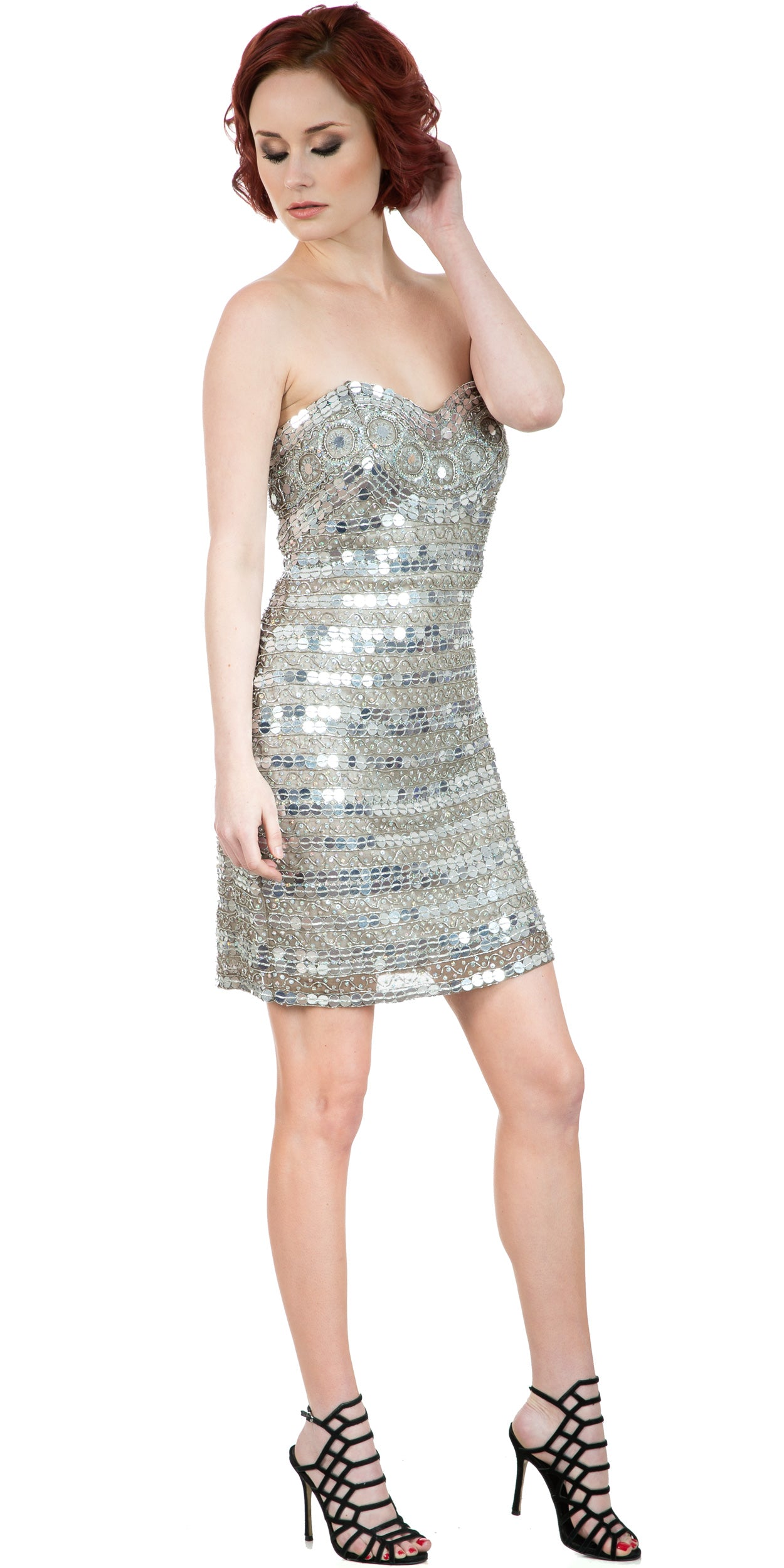 Image of Strapless Mirror Sequins & Beads Short Prom Party Dress in an alternative image