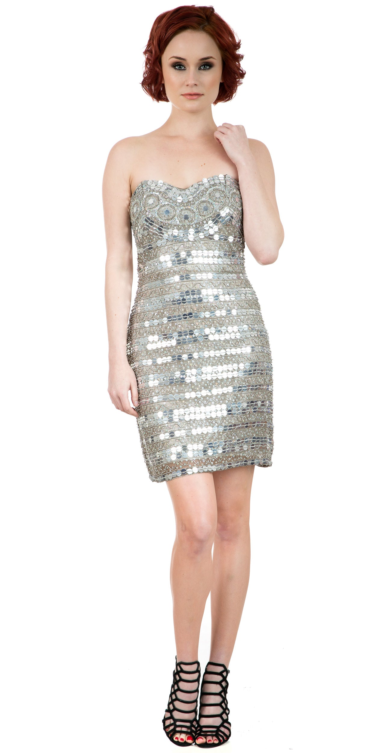 Main image of Strapless Mirror Sequins & Beads Short Prom Party Dress