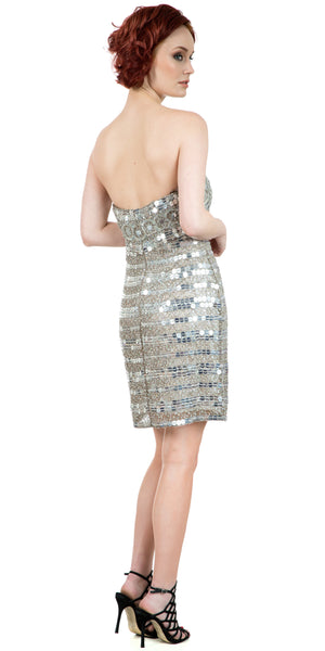 Back image of Strapless Mirror Sequins & Beads Short Prom Party Dress