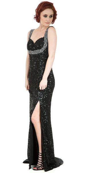 Image of Broad Straps Front Slit Sequined Long Formal Prom Dress in Black