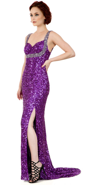 Image of Broad Straps Front Slit Sequined Long Formal Prom Dress in Purple/Silver